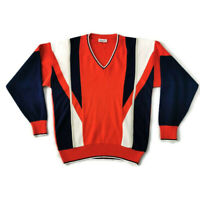 "Gabicci Size M 40"" Red White Blue V Neck Retro Wool Blend Jumper Mens Winter"