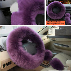 3Pcs Car Truck Steering Wheel Cover Soft Fur Wool Fluffy Winter Warm Accessories