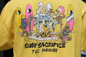 T&C Town and Country Surfboards Hawaii Neon Yellow OG 80's Surf Shark XL T-SHIRT