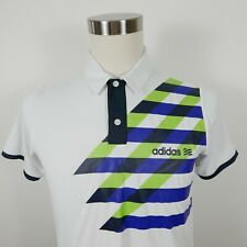 Adidas Golf Boys Polyester White Navy Green Activewear Polo Shirt Youth Large