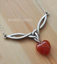Antique Silver Plt Celtic Knot V Pendant & Carnelian Heart Necklace Ladies GIft