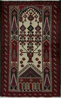 Tribal Geometric Ivory Balouch Afghan Oriental Area Rug Hand-Knotted Wool 3'x6'