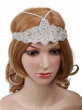 Vijiv Women's Silver Headchain Headpiece Vintage 1920s Flapper Headband NEW