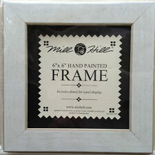 """Small Antique White Wood Folk Art Frame by Mill Hill 6"""" x 6"""" opening"""