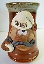 Robert Eakin Ugly Face Stoneware Pottery Mug Signed SKIER Mad Face Large Mug