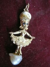 14K Yellow Gold Charm Little Ballerina w/ SAPPHIRE EYES on Pearl Quince Sweet 16