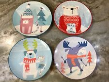 Christmas Dessert Plates Set Of 4. Colorful. 6 Inch. New.