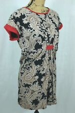 THML Paisley Printed Shift Dress Size Small Cap Sleeves Fully Lined Mini