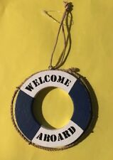 Wooden Welcome Aboard Ring Nautical Gift Seaside Beach-hut Quirky Fun