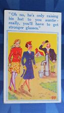 Risque Comic Postcard 1930s Nylons Stockings Garter Long Legs Boobs OPTICIAN