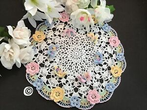 Brand New Hand Crocheted Flowers And Butterflys Doily