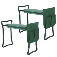 Folding 2X Garden Kneeler Gardener Kneeling Pad Cushion Seat Knee Pad Seat