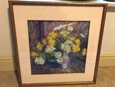 Alan Oliver Original Pastel Drawing - Still Life Flowers - Framed  -  38 x 36cm