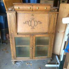 Very Unique Antique Oak Secretary with Glass Front Bookcase BELOW