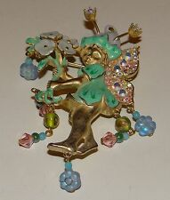 Vintage Elf Kirks Folly Whimsy Pendant/Brooch Flowers Art Glass Drops