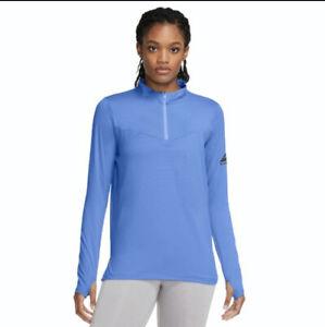 Nike Women's Blue Trail Element Half Zip Sweatshirt Running Fitness active wear