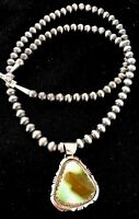 Native Sterling Silver Royston Turquoise Pendant Navajo Pearl Necklace 011