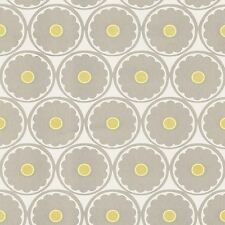 Wallpaper Retro Mid Century Flower Power Taupe Yellow & Off White Suede Texture
