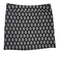 Ann Taylor Loft skirt 12 pencil black cream dots embroidered straight career L