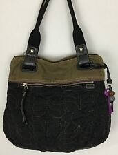 Fossil Key-Per Black Brown Quilted Shoulder Bag Purse