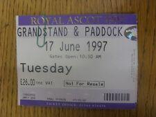17/06/1997 Ticket: Horse Racing - Ascot - Royal Meeting (Creased). Any faults ar