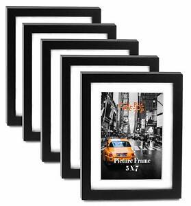 "Cavepop 5x7"" Black Wood Textured Picture Frames - Set of 5"