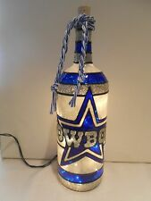 Dallas Cowboys inspired Wine Bottle Lamp Stained Glass look Lighted 1