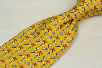 Salvatore Ferragamo Orange Multicolor Dragonfly 100% Silk Tie