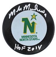 "North Stars Mike Modano ""HOF 2014"" Authentic Signed Logo Hockey Puck BAS Witness"