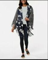 Cejon Womens One Size Fits Most Love For Lily Multi-Print Kimono Navy Blue 837