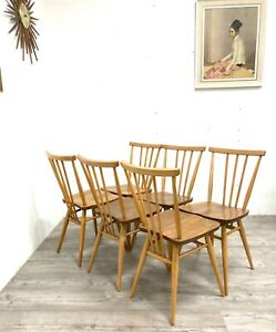 Set Of Six (6) Ercol Model 391 All Purpose Elm & Beech Dining Chairs.