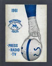 VINTAGE 1961 NFL BALTIMORE COLTS FOOTBALL MEDIA PRESS RADIO GUIDE -JOHNNY UNITAS