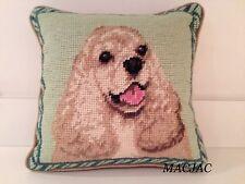 """Cocker Spaniel Dog Needlepoint Pillow 10""""x10"""" NWT"""