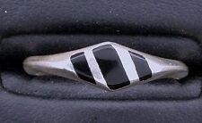 Black Onyx Inlay Gem Stone Gemstone Sterling Silver Ring Size 7 PSR138