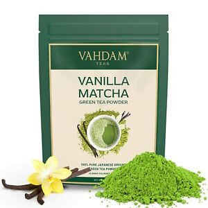 VAHDAM Vanilla + Matcha Green Tea Powder 25 Cups Brew Delicious LATTE 50 gram