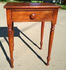 Antique+single-Drawer+Cherry+Side+Table+W%2F+Turned+Legs