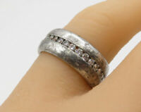925 Sterling Silver - Vintage White Cubic Zirconia Linear Band Ring Sz 7 - R2762