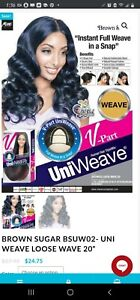 """Brown Sugar Violet 20"""" UniWeave V-Part Wig New in Box  HUMAN HAIR STYLEMIX"""