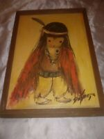 RARE ETTORE TED DEGRAZIA ORIGINAL OIL PAINTING RED BLANKET WOODEN FRAME SIGNED