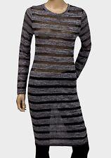 Semi sheer grey stripe long sleeve midi stretch bodycon dress size 12