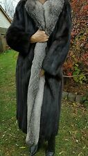 Ranch Mink Coat With Silver Fox Tuxedo,Size L