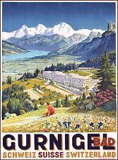Gurnigel Pass Schweiz Suisse Switzerland Vintage Travel Advertisement Poster