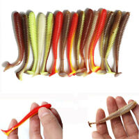 "2.95"" Soft Fishing Lure T Tail Worm Stick Senko Style Mixed Color Bass Lure Bait"