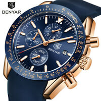 BENYAR Mens Casual Leather Watches Stop Watch Analog Quartz Wristwatch BY5140