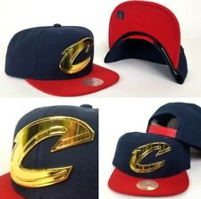 Mitchell & Ness Cleveland Cavaliers Gold Metal Logo Navy / Red Snapback Hat Cap