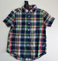 NWT Ralph Lauren Boys SS Indigo Madras Plaid Button Down Shirt Blue Sz 5 NEW $35