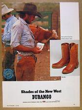 1979 Cowboy at O6 Ranch Alpine TX photo Durango Boots vintage print Ad