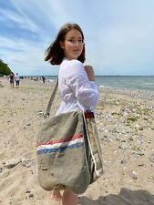 cross-Body Travel Bag Shopper Beach Bag Canvas & Leather Handmade Kitt