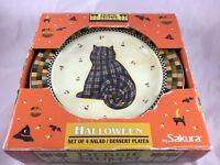 Sakura Debbie Mumm Halloween Party Cat JOL Owl Salad Dessert Plate Plates Set 4
