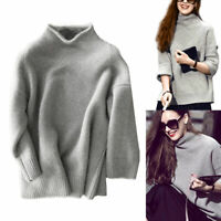 Womens Winter Turtleneck Warm Thick Pullover Cashmere Wool Knit Sweater Jumper